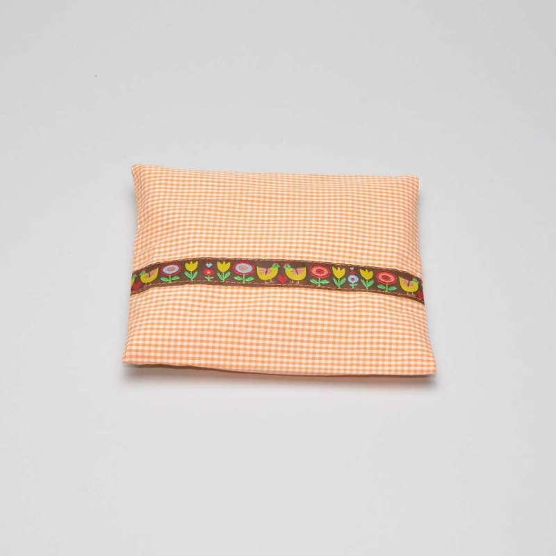 Bauchweh-Kissen orange BlumenBordüre