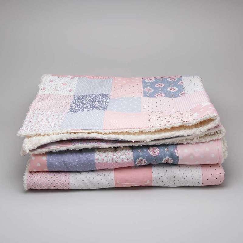 Patchwork-Krabbeldecke rosa-grau